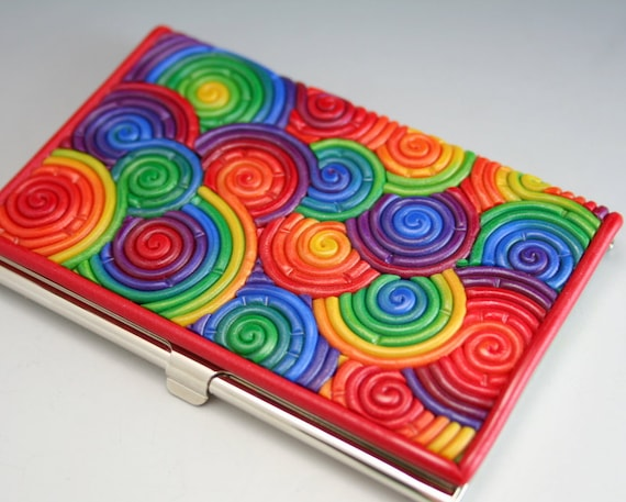 Business Card Case in Rainbow Polymer Clay (Red Border)
