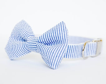 Seersucker Dog Bow Tie Collar (Bowtie) - Your choice of color