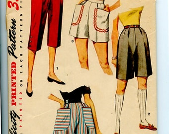1950s Shorts & Capris Simplicity 4680 Vintage Pattern High Waist Bombshell Shorts, Longer Preppy Bermudas, or Capri Pedal Pushers, Waist 26