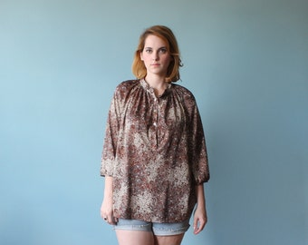SALE 50% OFF plus size shirt / bubble print blouse / 1980s / xl - xxl
