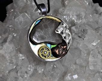 Michigan Petoskey stone, native copper one of a kind steampunk art pendant necklace vintage watch parts one of a kind steampunk style