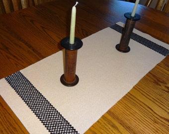 Handwoven Cotton Table Runner, Table Runner, Dresser Scarf, Celtic Knot Table Runner, Celtic Knot, Runner - Tan & Black Table Runner