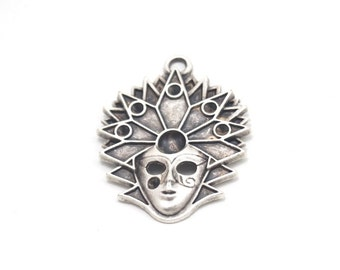 1pc- Matte Silver Plated Hallowen, Mask Pendant -55x40mm (407-027SP)