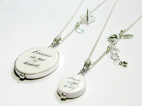 Mother Daughter Necklace Set, Custom Photo Keepsake Pendants - FP18FlfN + C7fN