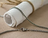 Thin Oxidized Silver Wheat Chain Necklace, Argentium Sterling 1.7mm thick, Lobster Clasp 15 16 17 18 20 22 24 26 28 32 34 36 38 40 any inch