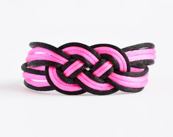 Shiny neon hot pink and black large double infinity knotted nautical rope bracelet