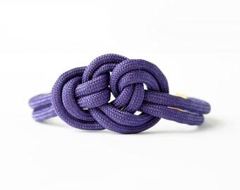 Purple adjustable triple knot parachute cord nautical rope bracelet with petite gold anchor charm