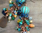 Colorful Turquoise Beaded Earrings,Bohemian Ethnic Beaded Earrings,Wood,Crystal,Pearl,Paper