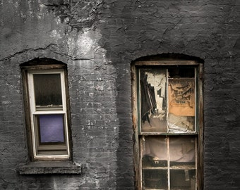 Two Windows, Old and New, Chinatown, New York, Art Photography, Old Windows, Old Building, Original Fine Art Print, Signed, Free Shipping