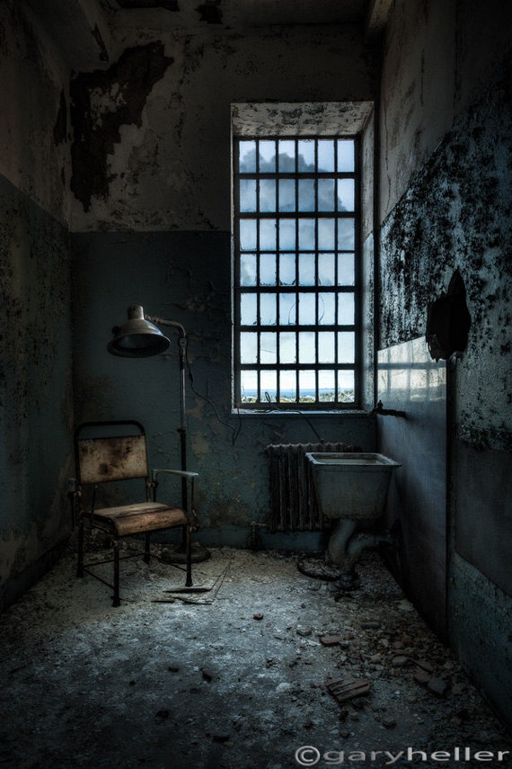 The Private Room, Urban Exploration of Abandoned Asylum, Signed Photograph of a small dark room with large window