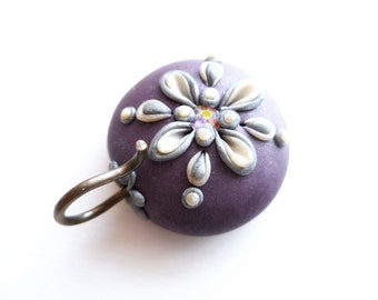 Portuguese Knitting Pin - Magnetic Portuguese Knitting Pin - Knitting Hook - Handmade Knitting Pin, Purple, Silver