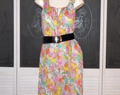 Vintage Pucci Style Hippie Psychedelic Night Gown Flower Power Nightgown Dress
