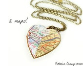 Personalized Two Cities Large Heart Double Map Locket Necklace, Long Distance Relationship, Custom, Vintage Locket, Brass or Silver
