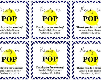 "Yellow Balloon ""Ready to Pop!"" Baby Shower Favor Tags: Digital File"