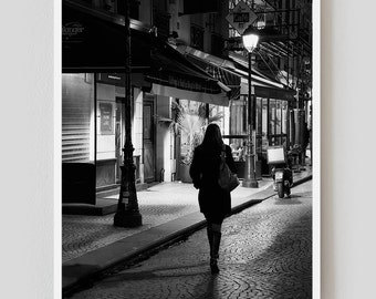 "Paris Print, Black and White Photography, ""Paris Noir 1"" Extra Large Wall Art, Fine Art Print Paris Photography,  Film Noir"