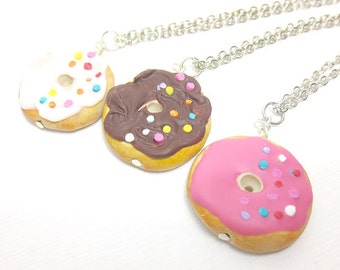 Donut Necklace Miniature Food Jewelry, Polymer Clay Food Jewelry