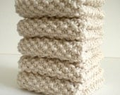 Ivory Dish Cloth / Ivory Knitted Cloth / Knit Wash Rag / Cotton Dish Rag / Neutral Color Dish Rag / under 10 gift