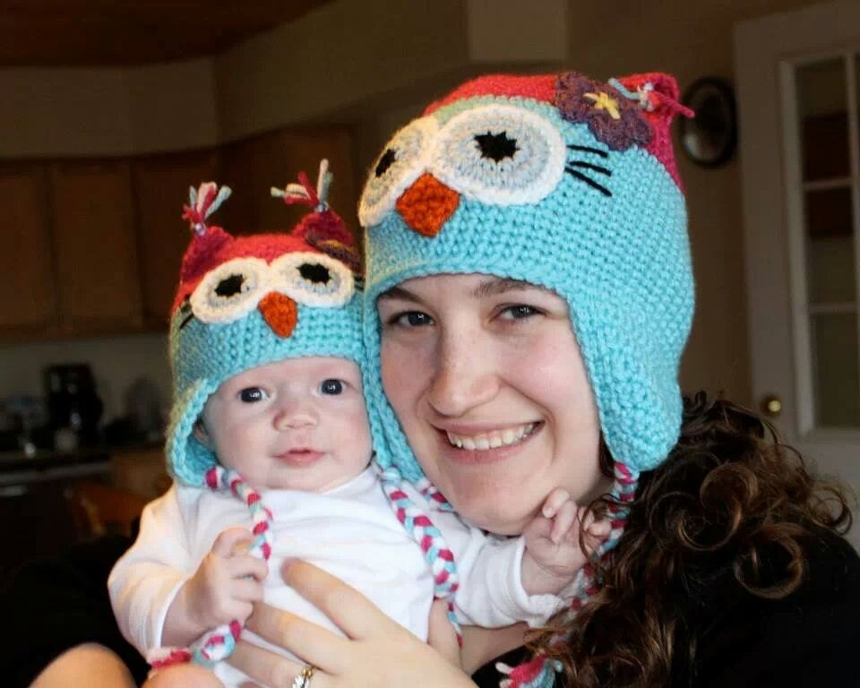 crocheted raspberry pink and aqua blue girl owl hat baby. Black Bedroom Furniture Sets. Home Design Ideas