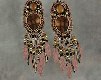 Earrings, bead embroidery, beaded, jasper,tiger eye, feather, Earrings with Rose Colored Feathers
