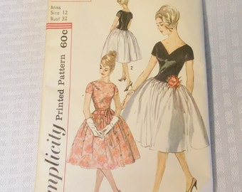 Clearance Early 60's Vintage Bouffant Party Cocktail Dress Pattern Simplicity # 3741 32 Inch Bust 1961