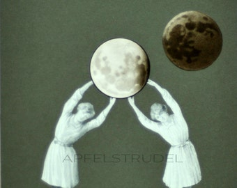 GLASS FRAMED ARTWORK. Lunar Games. 100% Recycled Artwork using Vintage Materials