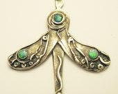 Wings Nouveau butterfly wings goddess pendant, butterfly pendant in sterling silver, symbolic wings pendant