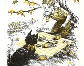 Dog Print - Scottie Dog Print - Vintage Children's Yellow Story Book Page, Wall Art - Country Picnic - Boy and Dog - Marguerite Goya - 1980