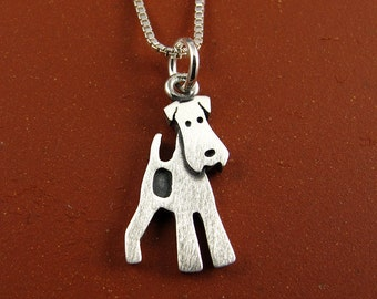 Tiny fox terrier necklace (makes a great Airedale, too)