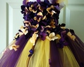 Flower Girl Dress, Tutu Dress, Photo Prop, in Purple and Yellow, Flower Top, Tutu Dress