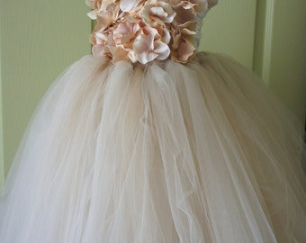Flower girl dress Champagne Dress Champagne tutu dress, flower top, hydrangea top, toddler tutu dress