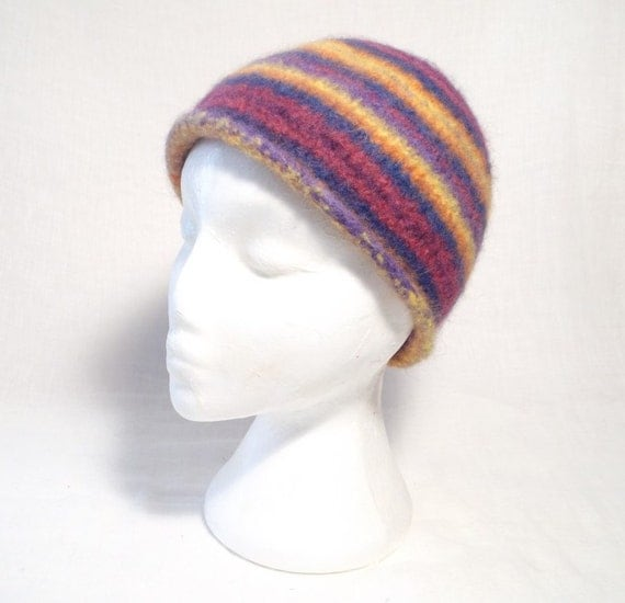 Felted Hat Knitting Pattern : Stripey Felt Beanie Hat Knitting Pattern
