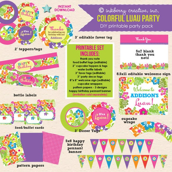 Colorful Luau Party DIY/Printable Complete Party Pack