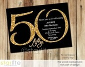 Milestone 50th Birthday invitation, Modern Number Gold Glitter Black 50th Birthday Invitation, ANY AGE ending in ZERO, Printable, Printed