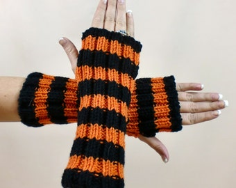 Knit Fingerless Gloves - Black Orange Striped Arm Warmers - Texting Stripe Mitts - Halloween Knit Hobo Gauntlets - Denver Broncos Colors