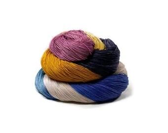 300 Yards Hand Dyed Cotton Crochet Thread Size 10 3 Ply Purple Beige Blue Mustard Yellow Fine Cotton Yarn