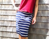 Women's knee length skirt // navy blue and gray bamboo spandex jersey // made to order