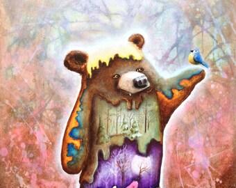 Bear Illustration -  Mixed Media Print -  Surreal Art -  Abstract Artwork -  Wall Decor -  Home Deco -  Surreal Prints -  Scott Mills Art