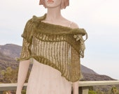 Knit Capelet Sage Green Olive Wrap Woodland Cowl Poncho Shawl Sage Green Khaki Kid Mohair