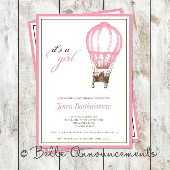 Vintage Baby Shower Invitation Pink and Brown Printable