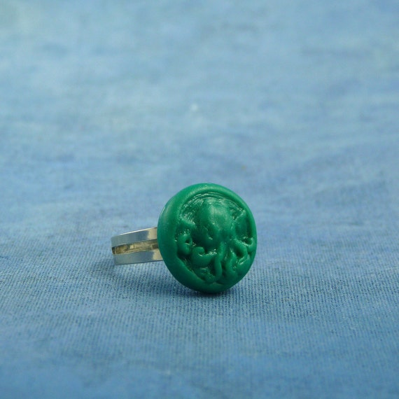 Jade Cthulhu Ring, Polymer Clay Lovecraft Jewelry