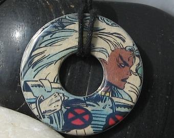 X-Men STORM Vintage Upcycled Comic Book Washer Pendant Necklace Marvel Comics