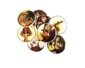 "Buttons. 8 Alice in Wonderland Buttons.  8 Vintage images from Alice in Wonderland.  Decorative Buttons.  3/4"" or 20 mm Round."