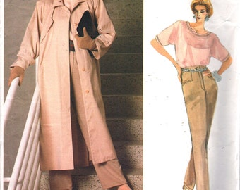 Vogue 1773 1980s  Misses A Line Coat Straight Pants and Top Pattern GEOFFREY BEENE Womens Vintage  Sewing Pattern Size 8 Bust 31 UNCUT