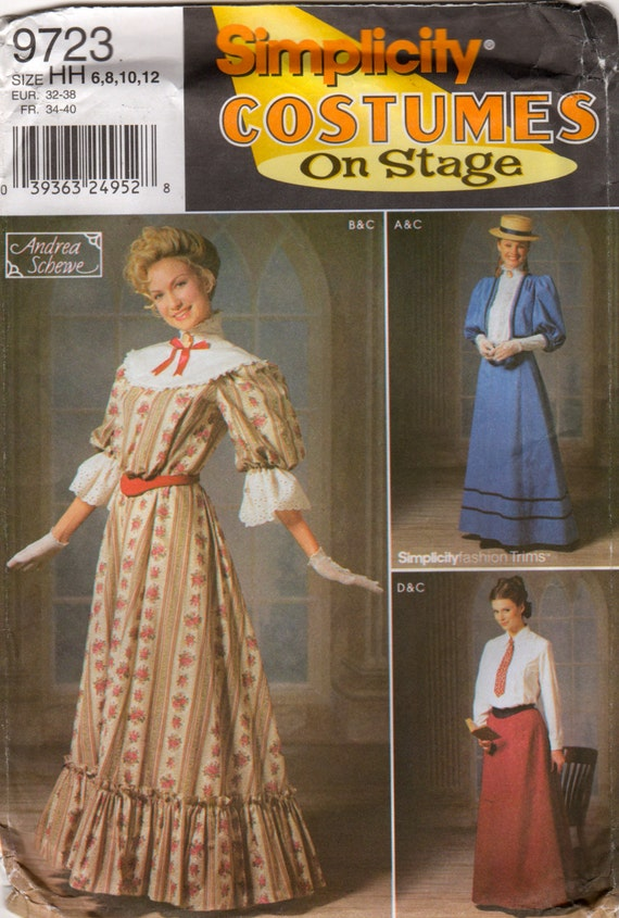 simplicity 9723 misses stage costume pattern victorian