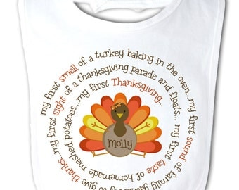 baby's first thanksgiving bib adorable my first turkey day baby bib for boy or a girl