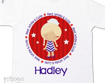 4th of July shirt girl red white and cute personalized Tshirt