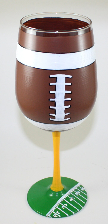 Hand Painted Football Wine Glasses