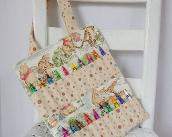 Winnie the Pooh Crayon Bag Coloring Tote Girls Birthday Gift Eyeore Activity Bag Childrens Art Tote Piglet