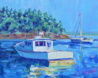 Maine Lobster Boat - Maine Landscape - Paper - Canvas - Wood Block