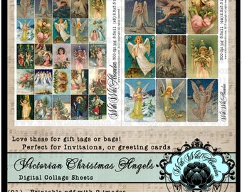 Angels Digital Collage Sheet,  Christmas Angel Tag Set,  Victorian Angel Gift Tags,ACEO Size, ATC,  Printable gift tag